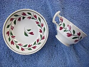 Soft Paste Cup Saucer Hand Painted Signed Adam S Early American Dinnerware