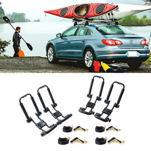 2 Pair Foldable Kayak Carrier Roof Rack Boat Surf Board Canoe Car Suv Truck
