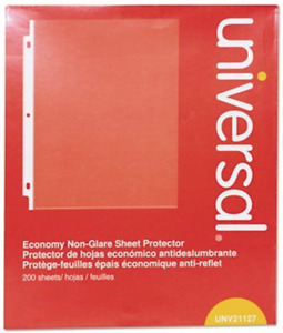 4 Pack Universal Top load Poly Sheet Protectors Economy Letter 200 box Unv21127