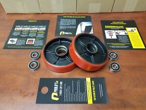 2 New Universal Pallet Jack Steer Wheels Prolifthd W Bearings Poly Tread Pair