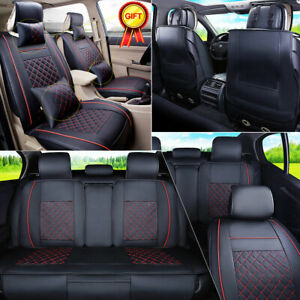 Us Cooling Seat Cover 5 Seats Car Cushion Front Rear W Pillow Full Set Black Red