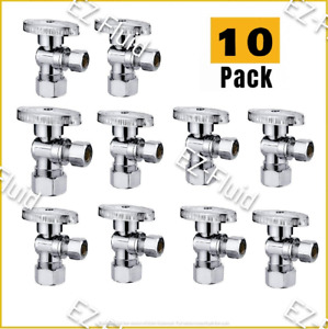 Plumbing Lot 10pc 1 4turn Angle Stop Water Shut Off Ball Valve 5 8 od X 3 8 comp