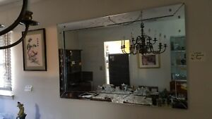 Mid Century Etched Frame Wall Mirror 56 X 36 Glass Elegant And Exquisite