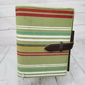 Franklin Covey Classic Green Striped Faux Vegan Leather Strap 7 Ring Planner