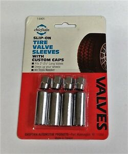 24 Chrome Plated Tire Valve Sleeves With Tire Valve Caps