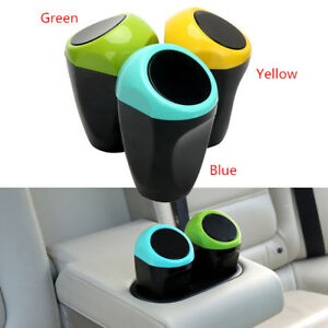 Mini Office Home Car Waste Trash Rubbish Bin Can Garbage Dust Case Holder Yellow