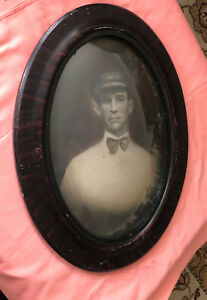 Antique Victorian Oval Large Tiger Wood Convex Double Glass Picture Frame Photo