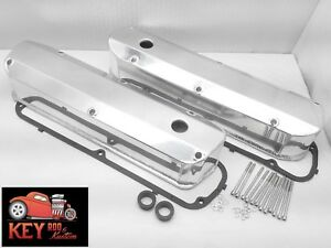 Ford Fabricated Tall Valve Covers Long Bolt Polished Aluminum 289 302 351w Sbf
