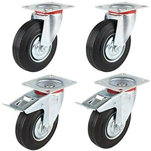 Set Of 4 Swivel Plate Casters With 5 Polyurethane Wheels 2 Side Brakes