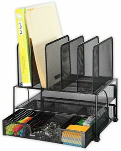 Office Supplies Mesh Desk Organizer With Sliding Drawer Double Tray Storage