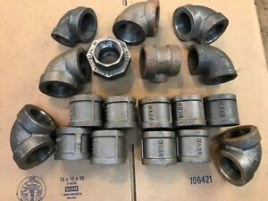 Ward 1 1 2 Pipe Fittings Elbows tees bushings Assortment Group Lot Steel new