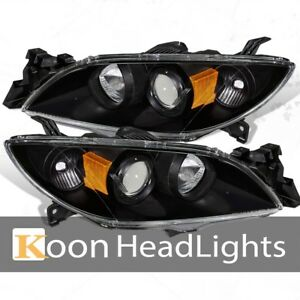 Fit 03 09 Mazda 3 Halo Projector Replacement Headlights Black Amber Reflector