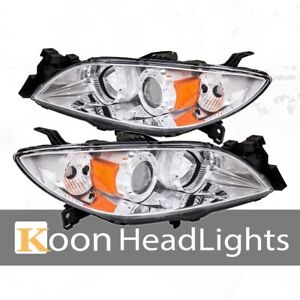 Fit 03 09 Mazda 3 Halo Projector Headlight Clear Lens Amber Corner Reflector