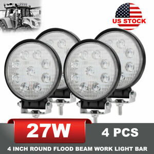 27w 4pcs Agriculture Equipment Led Work Light 4 Inch Round Flood Beam Driving