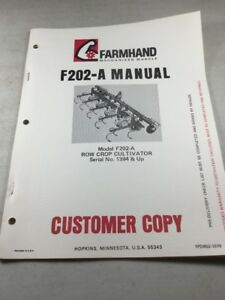 Farmhand F202 a Cultivator Operators And Parts Manual