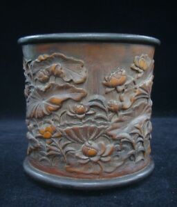 Fine Old Chinese Hand Carved Lotus Bamboo Carving Brush Pot Xuxi Mark