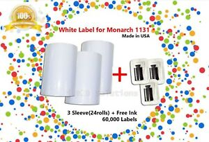 3 Sleeve 24 Roll White Label Includes Ink For Monarch 1131 Labeler made In U