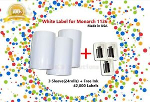 3 Sleeve 24 Roll White Label Includes Ink For Monarch 1136 Labeler made In Usa
