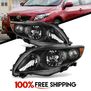 Toyota Corolla Black Housing Pair Headlights Clear Lens Lamps Years 09 And 10