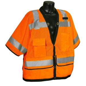 Radians Class 3 Reflective Mesh Surveyor Safety Vest With Pockets Orange