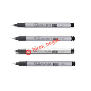 Copic Multiliner Sp Black Ink Marker 0 03 0 05 0 1 0 2 Tips 4 Set