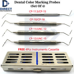 Dental Examination Probes Tooth Depth Measuring Periodontal 4pcs Tools Cassette