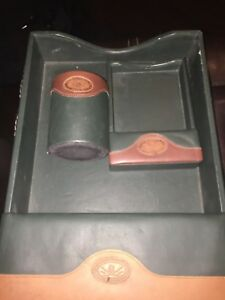 The Orvis Company Desk Set Pen Cup Postcard Business Card And Document Tray