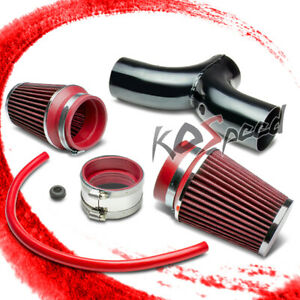 For 02 10 Dodge Ram 3 7 4 7 V6 V8 Short Ram Dual Intake Pipe 3 5 Red Air Filter