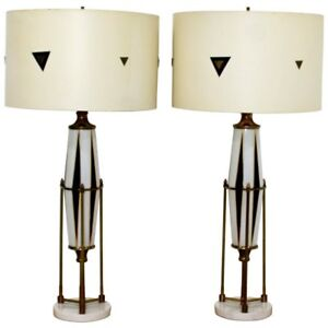Mid Century Modern Pair Of Hollywood Regency Harlequin Brass Glass Marble Lamps