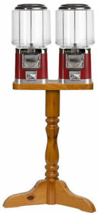 Double Barrel Bulk Gumball Vending Machine With Wood Stand Red