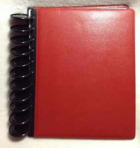 Levenger Circa Leather Foldover Notebook Red Letter Size Xl 2 Discs