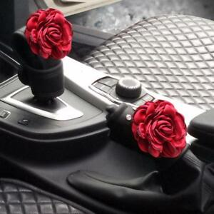 2 Pieces Set Crystal Red Rose Flower Car Handbrake Cover Gear Shift Knob Cover