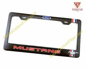 Mustang Red Text Grey Horse In Real Carbon Fiber License Plate Frame