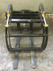 Bobcat Skid Steer Adjustable Hydraulic Fork Grapple Attachment