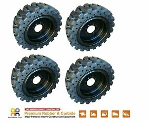 Rio Skid Steer Solid Tires Rim X4 No Flat 12x16 5 New Holland Terex 33x12 20