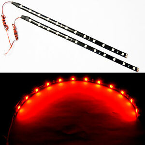 2x Red 30cm Flexible Led Strips Smd 5050 High Bright Car Decor Light Waterproof