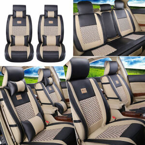 Pu Leather cooling Mesh Front Rear 5 Seats Cushion Car Seat Cover W pillows New