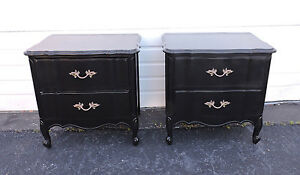 French Painted Black Pair Of Nightstands Side End Tables 7661