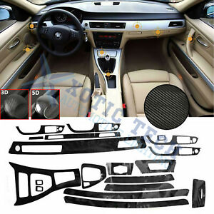 5d Interior Glossy Carbon Fiber Wrap Trim Decal For Bmw 3 Series E90 2005 2013