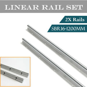 2pcs Sbr16 1200mm Linear Rail Slide Shaft Rod Optical Axis Guide Us Stock