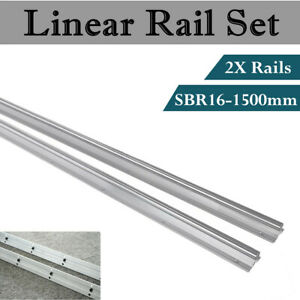 2pcs Sbr16 1500mm 1 5meter Linear Rail Fully Supported Shaft Slide Rods For Cnc