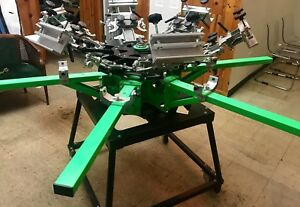 Riley Hopkins 6 Color 6 Station Screen Printing Press Micro Registration