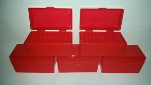 BERRY'S PLASTIC AMMO BOXES (5) RED 50 Round 243  308  More- FREE SHIPPING