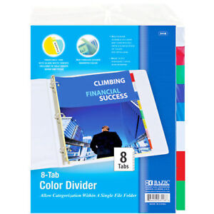 Bazic 3 ring Binder Dividers W 8 insertable Color Tabs File Folder Inserts New