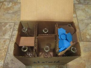 Pyrex 5580 100 Ml Flask with Blue Plastic Caps set 6 never Used in Original Box