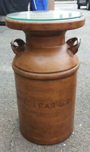 Vintage United Farmers And Whitting Milk Registered Boston Milk Can Side Tables