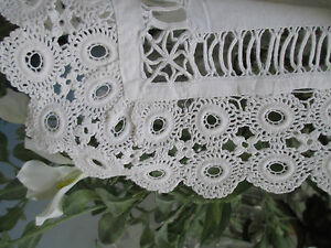 Pr Antique Hand Done Tattered Lace Pillow Cases