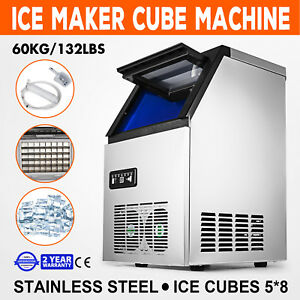 60kg 132lbs Ice Cube Making Machine 5 8 Pc Cubes Ice Cube Maker Stainless Steel
