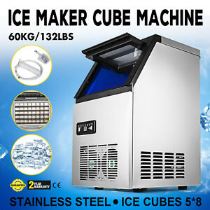 Ice Cube Making Machine Commercial 132lb 24h Ice Cube Maker Stainless Steel