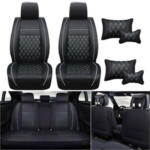 Pu Leather 5 sit Car Seat Cover Front Rear Universal Full Set Cushion W pillow